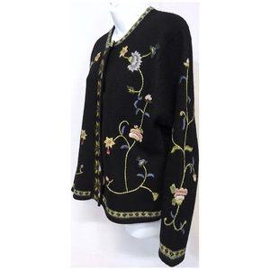 Tally-Ho Floral Black Wool Cardigan Shell …